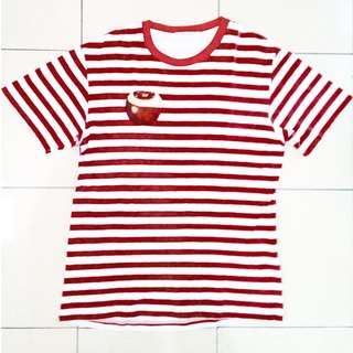 Uniqlo Red Strip with Half Peeled Apple