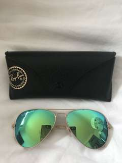 Ray bans reflective green gold sunglasses aviators