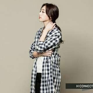 【兩件500免運】H:CONNECT 韓國品牌 長板格紋襯衫 - 黑白格子