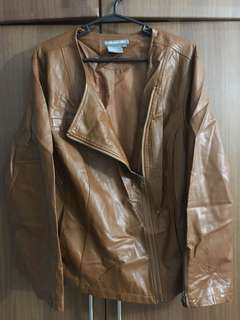 Brown Plus Size Leather Jacket