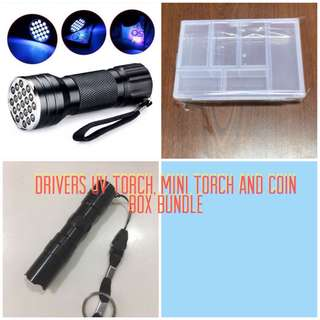 UV torch light, mini torch light and coin box bundle.