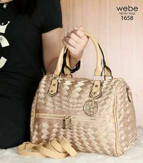 New Arrival Webe Speedy Polyster Vs Glossy Leather Hardware Gold (1658)