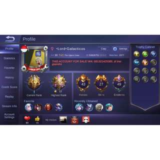Akun Mobile Legends Murah - Highest rank mythic