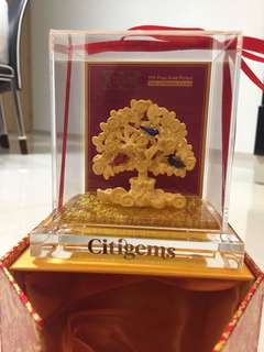 999 pure gold plated tree of wealth and love citigems