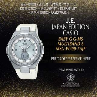 CASIO JAPAN EDITION BABY G G-MS SILVER CASE/ WHITE BAND MULTIBAND 6 MSG-W200-7AJF
