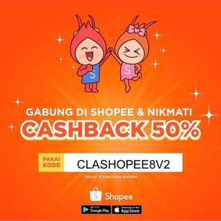 Voucher Shopee Cashback s.d 50ribu