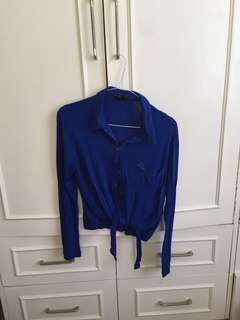 F21 sheer blue tie top