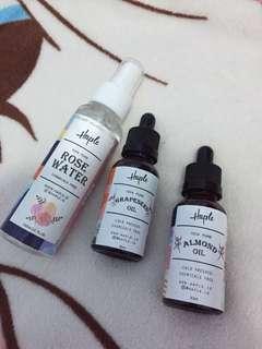 HAPLE rose water + grapeseed oil + almond oil