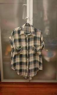 🚚 Queen Shop 復古風墨綠格子襯衫 (F)