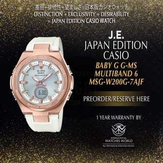 CASIO JAPAN EDITION BABY G G-MS MULTIBAND 6 ROSE GOLD CASE/ WHITE BAND MSG-W200G-7AJF