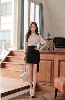 Apricot cut out Shoulder top black lace hemline Elegant Dress Pre order