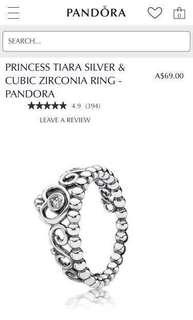 Size 54 Silver Princess Tiara Ring