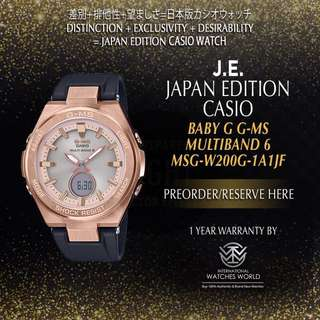 CASIO JAPAN EDITION BABY G G-MS ROSE GOLD CASE W BLACK BAND MSG-W200G-1A1JF MULTIBAND 6
