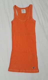 🚚 Hollister 立體刺繡海鷗款 素色背心 (女) 橘色