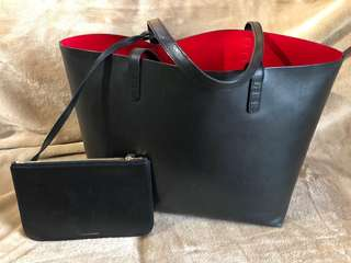 Authentic Mansur Gavriel Black/Red Tote Bag
