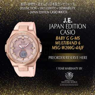 CASIO JAPAN EDITION BABY G G-MS ROSE GOLD CASE/ PINK BAND MSG-W200G-4AJF