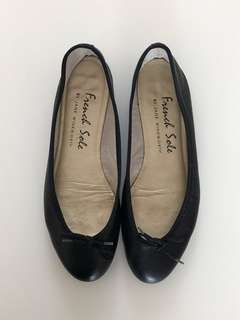 French Sole Black Classic Ballerinas