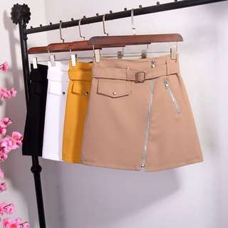 Skirt with buckle belt (beige)