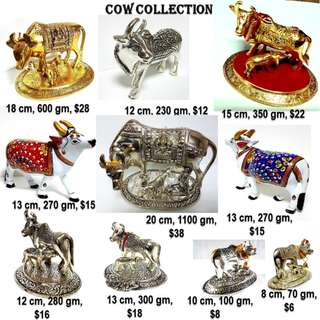 Different kinds of metall cows in Silver n golden finish