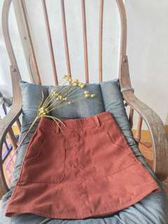 Korean A-line orange velvet skirt