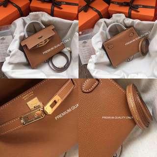 Hermes Mini Kelly Epsom leather - Marron colour