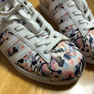 Adidas Original Super Star watercolor floral Women size 7-7.5