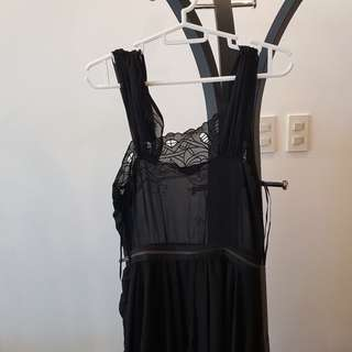 Topshop black chiffon dress with zipper and cut out details