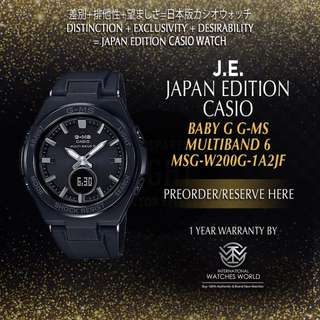 CASIO JAPAN EDITION BABY G G-MS MULTIBAND 6 BLACK CASE/ BAND MSG-W200G-1A2JF