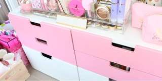 Vanity/ Makeup Drawers, Kallax storage, Frameless Hollywood Mirror