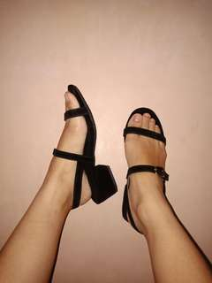 Black Velvet Block Heels