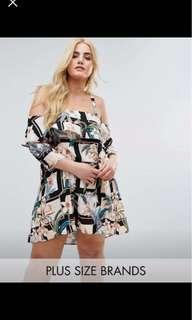 White floral frill shoulder Dress