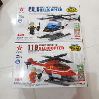 (Bundle Deal)Fire Rescue and Police Helicopter Bricks