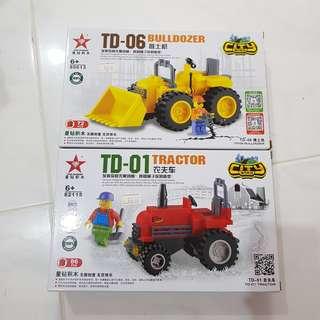 (Bundle Deal) Tractor and Bulldozer building bricks