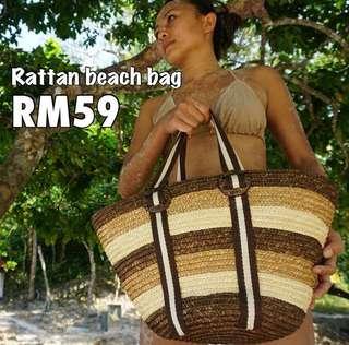 Woven rattan beach bag