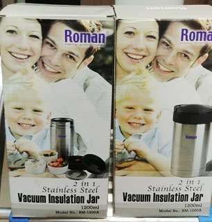 Romans 1200ml vacuum insulation jars, 1 for $25; 2 for $45