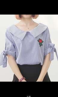 Women stripe shirt bow long sleeves