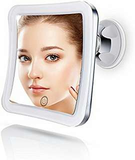Sanheshun 7X Magnifying Lighted Travel Makeup Mirror, Touch Activated, Locking Suction Mount, Battery Operated, Square