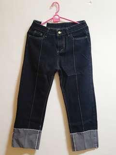 🚚 全新韓版復古寬鬆直筒捲邊深藍牛仔褲