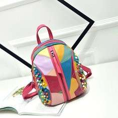 Women Genuine Leather Patchwork Handbag Backpack