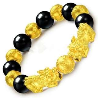 镀金貔貅手链 黑曜石貔貅手链