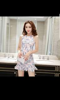 Fish tail skirt summer 2018 new women student korean style printing small fresh self cultivation shoulder hanging neck dress