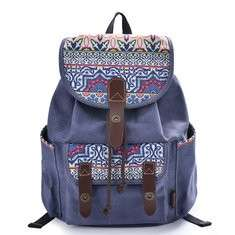 Women National Colorful Backpack Printing Backpack