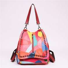 Women Genuine Leather Stitch Multifunction Handbag