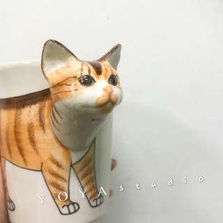 🚚 泰國手工動物橘貓陶瓷馬克杯