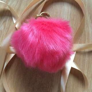 Keyring Fluffy Rabbit Fur HandBag Pendant Charm Soft Ball Pompom Keychain