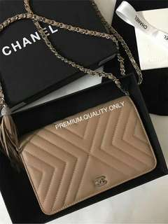 Boutique Quality Chanel Tassel Woc - nude beige