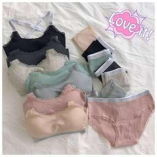 <PO> wireless bra set (exercise bra + panty 2 pc set)