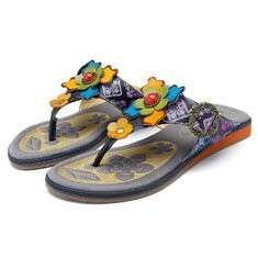 SOCOFY Bohemian Flowers Casual Soft Flat Slippers