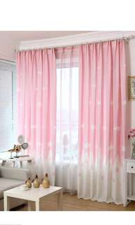 Sky White Cloud Curtains Window Screening Curtain Drape Panel Tulle Valances(Curtain Tulle) in pink, hot pink, blue, green and light green