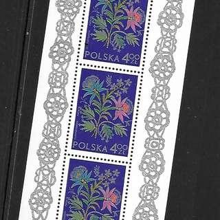 波蘭1974國際郵展刺繡MS全新